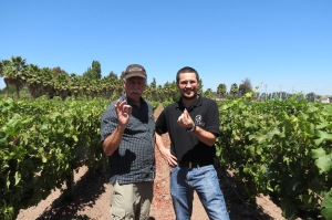 Tom & guide Filipe sampling grapes in demonstration garden