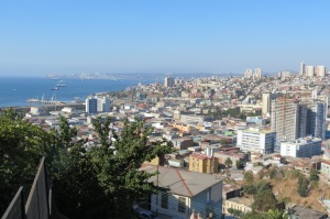 Valparaiso halfway up to our B&B