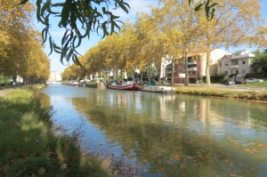 The canal in Toulouse filled with house boats, one was a spa, tempting...