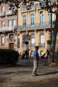 Tom in a part of Toulouse that reminded us of Back Bay, Boston.