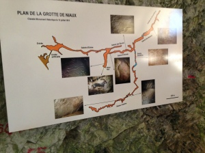 Map of cave. We couldn't go entire distance as there are two lakes.