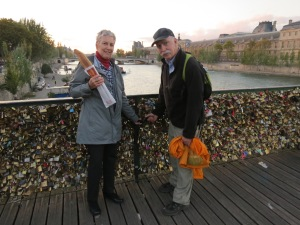 romantic bridge with locks of love